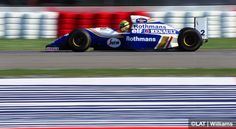 1994: Imola, Italy. Whilst leading the race, Senna lights up the front brake discs on the Williams FW16-Renault. This was the event at which he tragically lost his life.