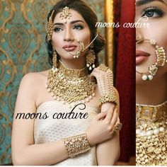 """Full Bridal set !! Absolutely stunning Moons collection !! 24k gold plated our """"Jaal kundan Set"""" with loads of kundan & pearls Did beautiful shoot in Pakistan!! For enquiries & details contact me on 07564900363 .  Thanks  #asianatv #aashniandco #asianbride #aashni #aashniweddingshow #hudabeauty #hudabeautyshop#humor #jewels #jewellery#j#moonscouture #moonsjewellery #uk #londoneye #london #londoneye #LoveMyJob #londonlife #instalike#instamood #inspiration #indianbrides by moonscouture"""