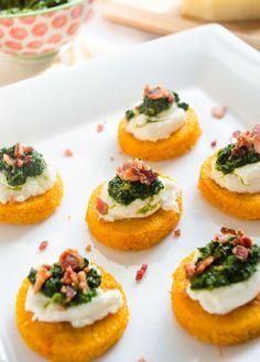 Sweet Potato Polenta Crostini with Ricotta, Kale Pesto, and Bacon