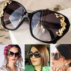 265fa4e9705d Buy Women s Lady Vintage Gold-tone Roses Carving Oversize Sun Glasses Black Frame  Sunglasses VVF at Wish - Shopping Made Fun