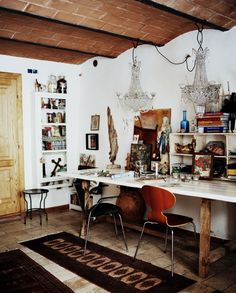 love so much... ceiling, workspace, lamps, etc