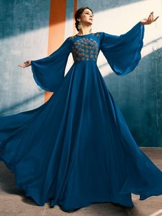 Designer gowns - Blue Blossom With Delicate Bunch Embroidered Bell Sleeves Designer Plaited Anarkali Style Kurti Indian Designer Outfits, Designer Gowns, Designer Anarkali, Long Gown Dress, Long Anarkali Gown, Anarkali Suits, Sleeves Designs For Dresses, Sleeve Designs, Indian Gowns Dresses