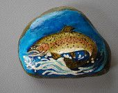 TROUT RIVER ROCK  Hand Painted Paperweight