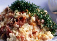 Faça uma combinação de culinária brasileira com italiana no risoto de carne-seca e abóbora.