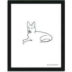 Personal-Prints German Shepherd Dog Line Drawing Framed Art