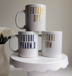 11 oz. Future Letters Glossy White Coffee/Tea Mug-Pharm, Med,Nursing, Vet, PT, PA, Dental, Law, Graduate School gifts  Looking for a great gift for a white coat ceremony or just to celebrate someone conquering a huge milestone? This is it!  This mug is the perfect gift for friends and family entering a graduate school. They will spend many of their days drinking coffee or tea while they study. Microwave and dishwasher safe. Although, the vinyl is very durable, it is recommended to hand wash…