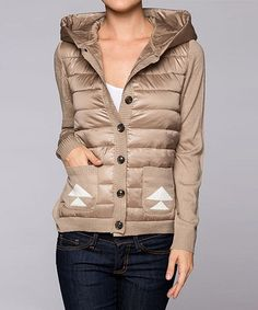 Taupe Knit-Sleeve Hooded Puffer Jacket - Women by Elegant Apparel #zulily #zulilyfinds