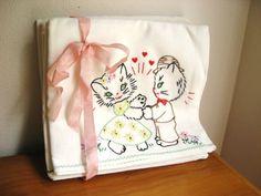 Vintage Cat Kitten Embroidered Flour Sack by DewyMorningVintage, $70.00