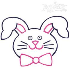 "Rabbit Bunny Head Embroidery Design. Great machine sewing pattern for Easter or spring Two Sizes: 5.27"" x 3.78"" and 4.06"" x 2.91"""