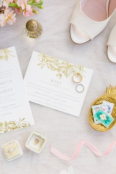 White + Gold Invitation Suite with Blush Details | Pastel Mint, Coral, Blush + Gold Patriots Point Pavilion Wedding by Charleston wedding photographer Dana Cubbage Weddings