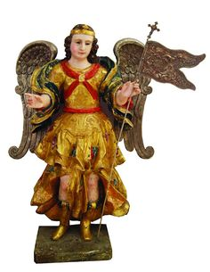 Angel with Silver Wings, Peru, 18th century, Polychrome wood with gold leaf and silver wings, Ortiz Gurdian Foundation & The Americas Collection