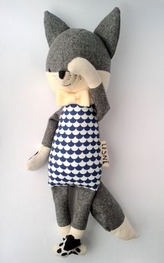 USKO the fox. made-to-order. eco kids. stuffed fox. grey by LESNE