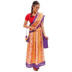 buttinette Kostüm Inderin aus Elastik-Jersey und Satin-Chiffon, bestehend aus Shirt und Rock mit Gummibund, inkl. Sari, durch Druckknopf am Shirt zu befestigen. Material: Shirt 92 % Polyamid, 8 % Elasthan, Rock 100 % Polyester.Lieferung ohne Schmuck und Tasche.Größenhinweis: Kostüm fällt etwas größer aus!Styling-Tipp: Sari umlegen Mit diesem umwerfenden, indischen Sari Kostüm mit unglaublich schillernden Farben tauchen Sie ein in ein Indien der Gew&uu...