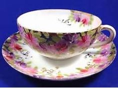 Tea-Cup-Fine-China-White-w-Pink-Purple-Flowers-Gold-Trim-Post-1940 ...