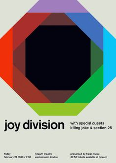 Joy Division at the Lyceum Theatre, London Support from Killing Joke and Section Reimagined concert poster by designer Mike Joyce for his Swissted project, fusing rock music & swiss modernist design. Joy Division, Design Graphique, Art Graphique, Design Poster, Print Design, Mike Joyce, International Typographic Style, Rock Poster, Modernisme