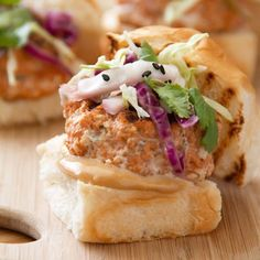 Asian Spiced Salmon Sliders with Soy Mayo & Spicy Slaw | Sippity Sup