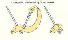 Loose/puffed ribbon stitch