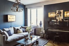 Living room with blue walls