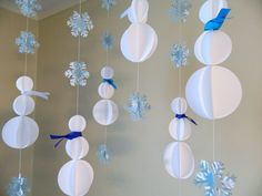 Paper Garland/3D Snowman Decoration/Holiday Window Hang/Winter Garland/Classroon Decor/ Snowflake Garland/ Photo Prop/ Christmas Decorations by anyoccasionbanners on Etsy