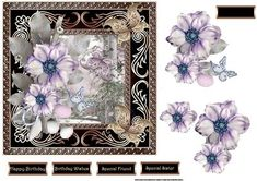 Flowers and butterfly card with decoupage on Craftsuprint designed by Angela…