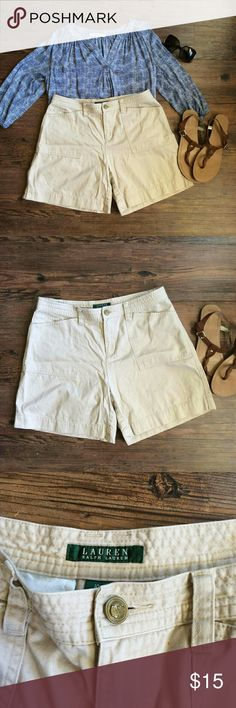 FINAL PRICE Lauren by RL khaki shorts Lauren by Ralph Lauren khaki shorts! Button is loose but could very easily be fixed with needle and thread  Size: 10 100% cotton Lauren Ralph Lauren Shorts