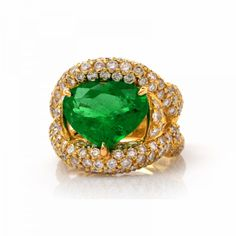 11.25 ct Heart Shape Colombian Emerald Pave Diamond 18K Gold Cocktail Ring - LIL04-02 from Dover Jewelry & Antiques Inc