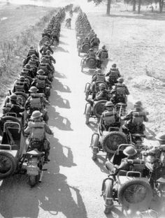 Enfield Military with Enfield Sidecars - WWII