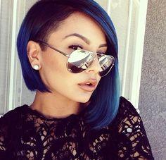 sidecut asymmetrical bob blue