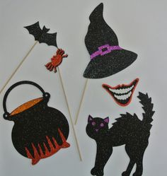 Halloween Photo Booth Props Items as seen in first picture Material Glitter Foamy Look and More halloween Props Here Halloween Photo Booth Props, Photo Booth Party Props, Halloween Photos, Photo Props, Booth Ideas, Cricut Explore, Mustache, Holiday Crafts, Parties