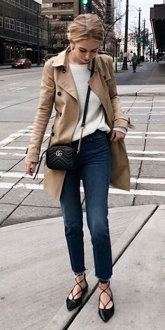 fall outfit coat + bag + top + jeans