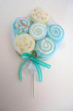 baby lollipops | Extra Large Washcloth Lollipops Baby Shower Decoration