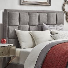Porter Linen Woven Upholstered Headboard By Inspire Q Clic Full Size Grey