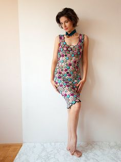 Crochet Dress with Circles  Purple Blue and Gray by subrosa123, €220.00