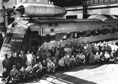 The M-497 (nicknamed Black Beetle) was an experimental jet-powered locomotive test bed of the New York Central Railroad. Two second-hand General Electric J47-19 jet engines  were mounted atop an existing Budd Rail Diesel Car. It was tested between Butler, Indiana, and Stryker, Ohio. On July 23, 1966, the car reached a speed of 183.68 mph, an American rail speed record that still stands today.
