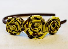 DIY- Raw Edge Roses.  Bow Dazzling Volunteers, please use a smooth headband (no teeth on the underside), or you could omit the band and attach an alligator clip with a felt circle for a cute hairclip.