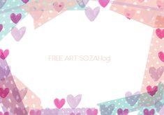 パステルハート&マスキングテープフレーム素材 Frame Background, Message Card, Stationery, Girly, Bullet Journal, Diy Crafts, Messages, Birthday, Handmade