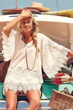 9ebbaf289908 NEW ANTHROPOLOGIE Eberjey CASTAWAY Cover-Up White lace CROCHET Dress Tunic  M L Traje