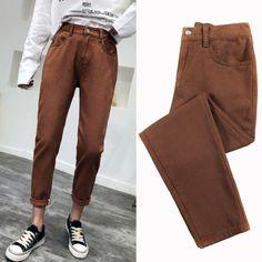 high waist jeans woman harem jeans Pink beige brown black plus size 32 mom pants jeans for women 2019 new spring elastic waist Harem Jeans, Jeans Pants, Trousers, Women's Straight Jeans, Mom Pants, Spring Fashion Trends, High Waist Jeans, High Jeans, Women's Leggings