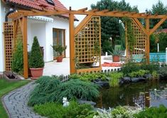 I like the pond: Outdoor Garden Patio Pergola Design Patio, Backyard Patio Designs, Pergola Designs, Pergola Ideas, Pergola Swing, Pergola Patio, House Front, Water Garden, Trellis
