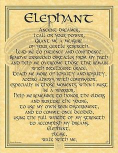 Animal Book of Shadows Page Wicca Witchcraft | Elephant Prayer