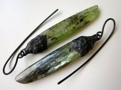 Brightness to Be Measured -primitive cosmic mystical flashy green kyanite stone spear, industrial soldered black metal bead cap wrap earring by LoveRoot