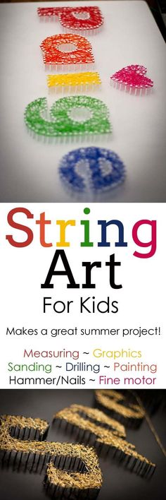 String Art For Kids is part of Elementary Summer crafts - String art can be a REALLY FUN and rewarding craft for your family! It takes a few day's time but well worth the finished product! Diy Craft Projects, Projects For Kids, Diy For Kids, Craft Ideas, Project Ideas, Family Art Projects, Kids Fun, Fun Ideas, Easy Arts And Crafts
