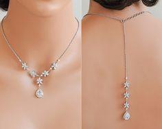 Back Drop Bridal Necklace, Crystal Wedding Necklace, Vintage Style Flower Cluster Backdrop Necklace, Silver Bridal Wedding Jewelry, BRISA by GlamorousBijoux on Etsy https://www.etsy.com/listing/268904058/back-drop-bridal-necklace-crystal