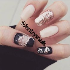 Black and nude and rose gold nails