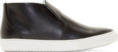 Pierre Hardy Black Leather Slip-On Sneakers