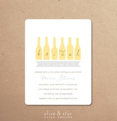 Wine tasting  bridal shower invitation set by OliveandStar on Etsy