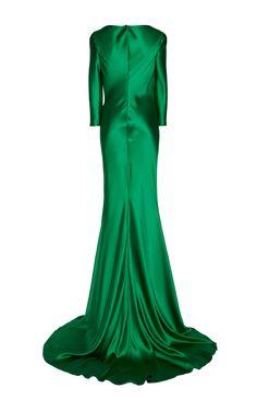 NAEEM KHAN Silk Satin Cowl Neck Gown