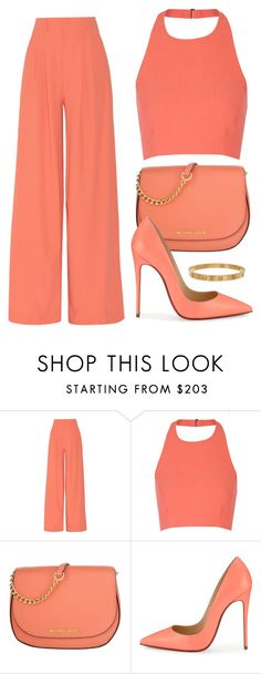 """""""Coral"""" by lina-horan69 ❤ liked on Polyvore featuring Alice + Olivia, Elizabeth and James, MICHAEL Michael Kors, Christian Louboutin and Cartier"""