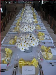 pretty table scape. Yellow & gray outdoor wedding