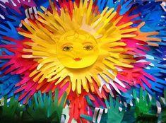 Summer- colourful sun made from student's handprints. Group Art Projects, Collaborative Art Projects, Projects For Kids, Crafts For Kids, Arts And Crafts, Art Lessons Elementary, Hand Art, Mural Art, Summer Crafts